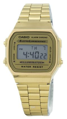 cad7aa9c1dc  Casio  Digital Alarm Chrono Stainless Steel A168WG-9WDF A168WG-9W Unisex  Watch