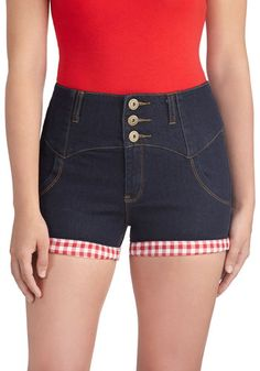Trimmed with Whimsy Shorts - Cotton, Denim, Blue, Red, White, Checkered / Gingham, Buttons, Casual, Vintage Inspired, Summer