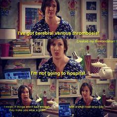 I've got cerebral venous thrombosis! British Humor, British Comedy, Tv Quotes, Movie Quotes, Miranda Hart Quotes, Miranda Bbc, What Have You Done, Feeling Happy, Favorite Tv Shows