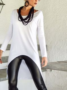 White Asymmetric Top Blouse / Short Front Long Back Top Blouse / Asymmetric Plus Size Blouse / #35127  NEW ASYMMETRIC TOPS - BLOUSES 2015 !  They