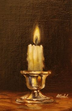 "Candle on Silver Holder,  Oil on 4""x6"" Linen Panel Still Life Oil Painting by Carolina Elizabeth #OilPaintingStillLife #OilPaintingFlowers"
