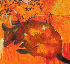 Richard Blundell Macropod Morning - 2015 Oil on linen canvas 76 x 76 cm 'RED' - Expressionism Group Exhibition at SOFITEL Gold Coast