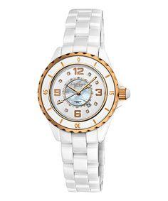 Another great find on #zulily! White & Rose Goldtone Rotating-Bezel Bracelet Watch #zulilyfinds