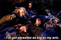 """Mine are the biggest parasites! I've got HUGE parasites!"" -Kili. Hahahaha I love this scene!"