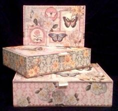 Punch Studio Butterfly Keepsake Trinket Cigar Makeup Jewelry Storage Boxes ALL 3
