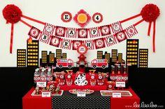 Firefighter Birthday Party by LeeLaaLoo #hwtm #firefighterbirthday