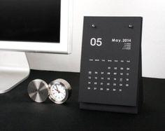 2014 Desk Calendar [ Black / White ] / 2014 Modern Calendar / Money Box Calendar