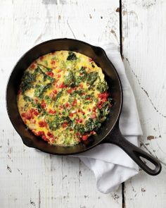 Week 3- Breakfast: Roasted Red Pepper and Kale Frittata       1 Tbsp extra-virgin olive oil      1 sliced scallion      1 cup chopped kale      1/4 cup diced roasted red pepper      Coarse salt and freshly ground black pepper      2 whisked large eggs