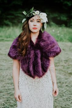 A purple fur bolero and a sparkly dress - so much yes to this bridal style | Image by Coley & Co Photography