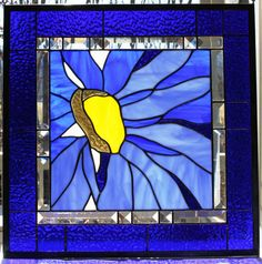 O'Keeffe Inspired Explosive Blue Daisy Stained Glass Panel with Bevels