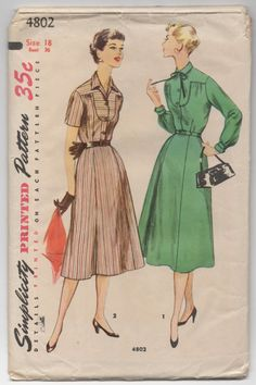 """1950's Simplicity Short or Long Sleeve Button-Up Dress Pattern - Bust 36"""" - No. 4802 by backroomfinds on Etsy"""