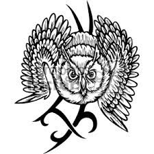 Royalty Free Owl With A Tribal Design In The Background 373392 Vector Clip Art Image
