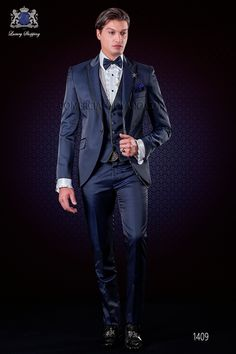 Mode costume de marié à pois bleu royal Ottavio Nuccio Gala b68c4234221