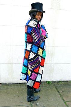 Upcycled Recycled Crochet Blanket Cardigan Coat by darrylblack