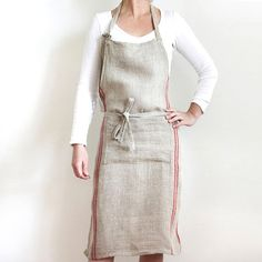 Flax Apron with Red Stripes