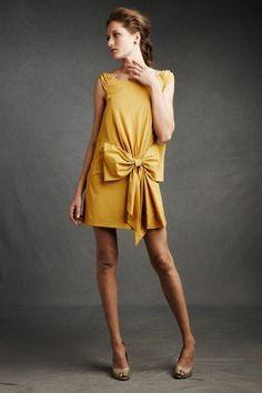 goldenrod bow-front shift dress