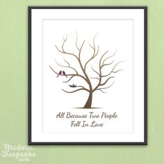 Fingerprint Baby Shower Tree - Thumb Print Guest Book Print -  Love Birds and Nested Baby Bird - 11x14 - 50 Signature Guestbook. $30.00, via Etsy.
