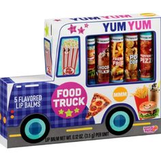 Lotta Luv Yum Yum Beauty Food Truck Flavored Lip Balms Lotta Luv $10.00 http://www.amazon.com/gp/product/B00H0KTW02/ref=as_li_qf_sp_asin_il_tl?ie=UTF8&camp=1789&creative=9325&creativeASIN=B00H0KTW02&linkCode=as2&tag=easmononl01-20&linkId=2ZUDM4WJDU6CJKLQ