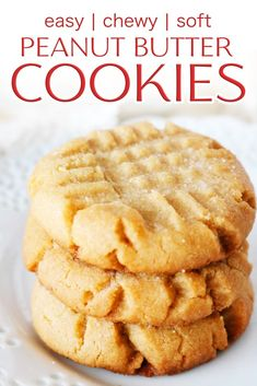 Soft and chewy Peanut Butter Cookies that melt in your mouth with every single bite! It's the best Peanut Butter cookie recipe, easy to make, and takes less than 15 minutes to prepare! #peanutbuttercookies #softandchewypeanutbuttercookies #softcookies #bestcookierecipes #cookierecipes #dessert #baking #partyfood #holidaybaking