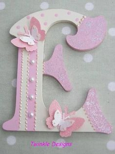 Shabby personalised girls wooden letter/name - Wood Letters Mdf Letters, Fancy Letters, Monogram Letters, Letters And Numbers, Framed Letters, Crafts To Make, Arts And Crafts, Diy Crafts, Free Standing Letters