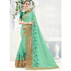 Buy Now Pista Green Color Party Wear Fancy Saree