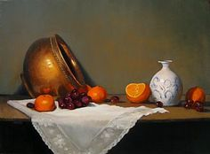 Still Life with copper pot, lace & orange - Painting Art by Sally Berner - Nature Art & Wildlife Art - Realistic North American wildlife, domestic animals & pet portraits - Berner Art Be Still, Still Life, Orange Painting, Painting Art, Copper Tea Kettle, Copper Pots, Wildlife Art, Pet Portraits, Fantasy Art