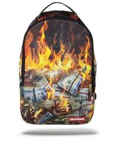 SPRAYGROUND FIRE MONEY BURNING BENJAMINS US DOLLARS USD URBAN BOOK BAG  BACKPACK 0a1db24a40bfd