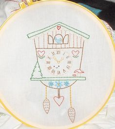 Cuckoo Clock embroidery pattern by Wild Olive {feeling stitchy}