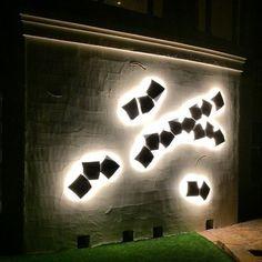 South Tampa Light Feature Wall. Vibia Exterior Design Exterior Design, Bathroom Lighting, Group, Mirror, Interior, Wall, Home Decor, Bathroom Light Fittings, Bathroom Vanity Lighting