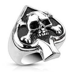 Stainless Steel Spade Crossbone Ring Hand Crafted from 316L surgical grade stainless steel Available in sizes 8 thru 13