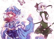 video games,Touhou video games touhou black dark dress ribbons pink hair red eyes short hair saigyouji yuyuko blue dre – Butterflies Wallpapers – Free Desktop Wallpapers