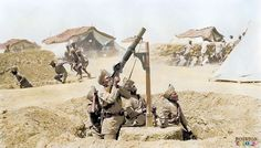 Indian soldiers In Mesopotamia, 1918.  As other soldiers run for the cover of slit trenches, an Indian Lewis gun team engage an enemy aircraft.  (Colourised by Royston Leonard from the UK)