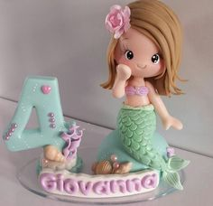 Ideas for cupcakes birthday candle cake toppers Little Mermaid Cakes, Mermaid Birthday Cakes, Birthday Cupcakes, Birthday Cake With Candles, Fondant Decorations, Fondant Toppers, Clay Creations, Cupcake Cakes, Cake Decorating