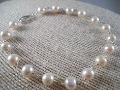 Freshwater Pearl Bracelet Wedding Bridal by SherisUniqueBoutique