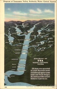 Linen Postcard Diagram of Tennessee Valley Authority Water Control System Maps Smoky Mountains Tennessee, Tennessee River, Chattanooga Tennessee, North Carolina Mountains, Morristown Tennessee, Chickamauga Lake, Fontana Village, Tennessee Valley Authority, System Map