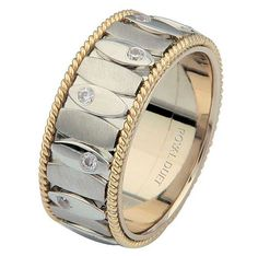 Two-Tone Gold Diamond Ring. Devoted | www.weddingbands.com | @Wedding Bands