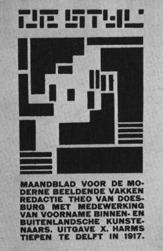 Vilmos Huszàr, Couverture de la revue De Stijl, vol. 1, n°1, octobre 1917. Typographie sur papier (© La Haye, Coll. Gemeentemuseum)