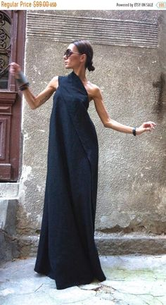 SALE Maxi Dress / Black Kaftan Linen Dress / One Shoulder