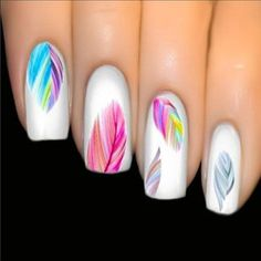 Nail Art Varnish Stickers Multicolored Feather Nails Boho Transfer Easy and flawless manicure thanks to this decal sticker varnish. Refined and bohemian print with multicolored feathers. Trendy new, 20 stickers per sheet. Feather Nail Art, 3d Nail Art, Nail Art Hacks, Easy Nail Art, Cool Nail Art, Feather Nail Designs, Feather Design, Art 3d, Rainbow Nail Art