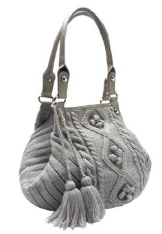 Roamans Plus Size Cable Knit Sweater Handbag With Tassels (bestseller)
