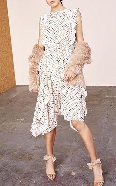 Ruffle White Midi Dress and Fur Cardigan by Ulla Johnson | Moda Operandi