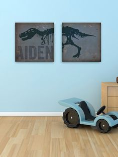 Tyrannosaurus rex dinosaur artwork childrens art on two canvases 12 x 12 by stephen fowler