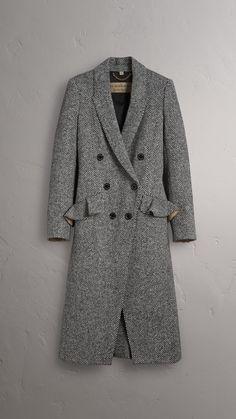 Donegal Herringbone Wool Tweed Tailored Coat in Black - Women | Burberry