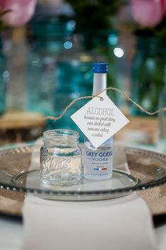 Favor Tags for Any Suite! Alcohol wedding favors, grey goose vodka, favor tags, wedding favors, Alcohol: Because no great story ever started with someone eating a salad, funny wedding signs, rustic wedding favors, mason jar shot glass, rustic table setting