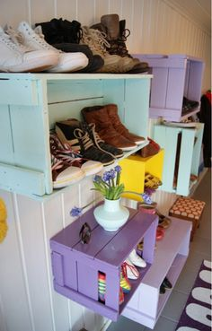 Painted wooden crate shoe storage