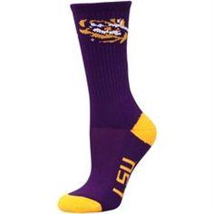 LSU Tigers Women's Vertical Stripe Socks - Purple