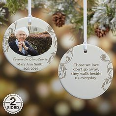 This is such a beautiful way to remember a loved one at Christmas time. It's a personalized memorial ornament that you can customize with any photo or message on the front and back. SO special!