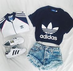 Adidas jacket, dark blue Adidas shirt, white adidas superstars, shorts