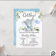 Boy's Elephant Watercolor Baby Shower Invitation This boy's watercolor elephant baby shower invitation features a cute elephant, a baby blue balloon and some green foliage on a white background. Ideal of an upcoming boy's elephant themed baby shower. Baby Shower Invitations For Boys, Baby Shower Themes, Baby Boy Shower, Baby Shower Gifts, Baby Gifts, Shower Ideas, Sprinkle Shower, Baby Shower Invitaciones, Elephant Theme