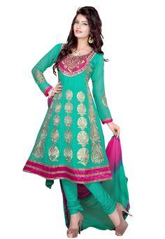 Green #Color Santoon Designer Indian #Anarkali Suit Designs